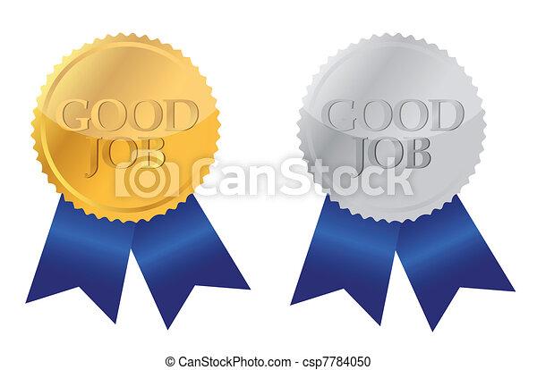 good job ribbon seals over white - csp7784050
