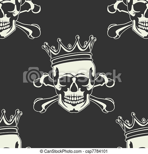 Emblem with  skull and  crown Seaml - csp7784101
