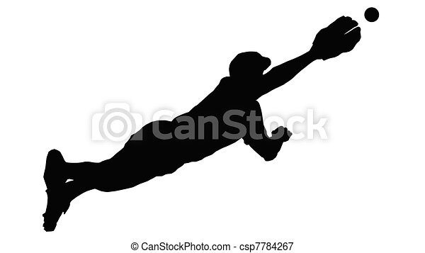 Baseball Diving Fielder - csp7784267