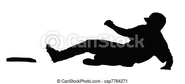 Baseball Runner Sliding for Base - csp7784271