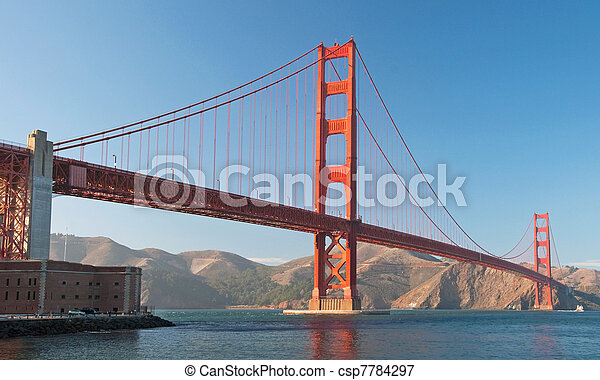 The Golden Gate Bridge in San Francisco during the sunset with beautiful azure ocean in background panorama - csp7784297