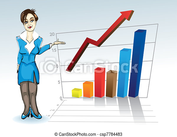 attractive young woman with business graph - illustration - csp7784483