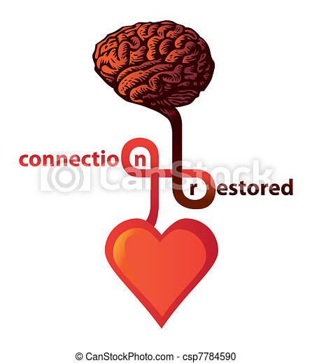 connection between heart and brain restored - illustration - csp7784590