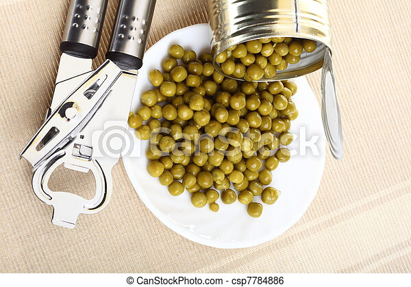 can with canned, tinned peas,  - csp7784886
