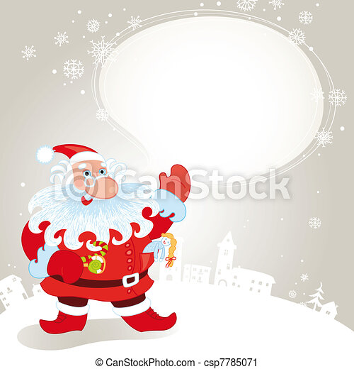 Santa claus greeting card - csp7785071