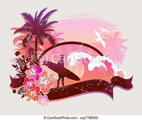 Surfer on a tropical beach - vector illustration - csp7786402
