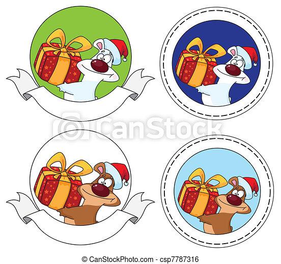 bear and gift box banner - csp7787316