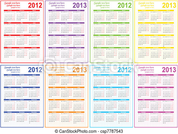 Vectors of Set of 2012 and 2013 Calendar csp7787543 - Search Clip Art ...