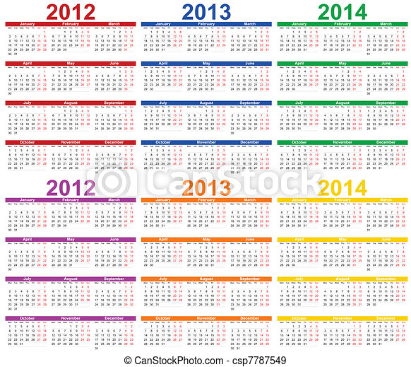EPS Vectors of Calendar 2012 - 2013 - Calendar 2012, 2013 with room ...