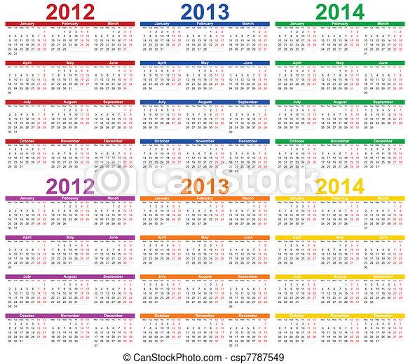 calendario,  -,  2013,  2012 - csp7787549
