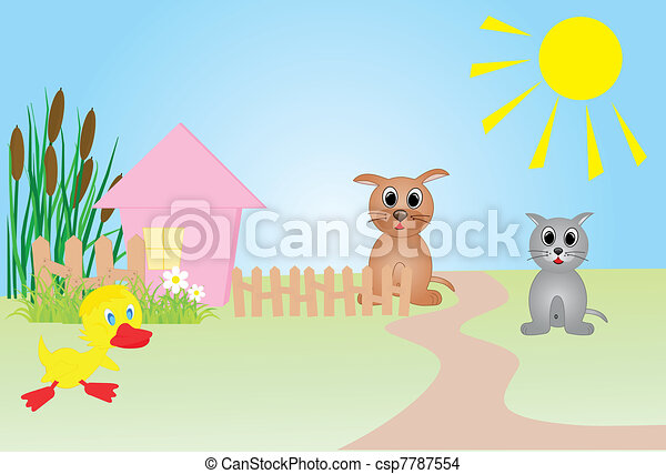 Farm vector illustration, all characters are on separate layers.  - csp7787554