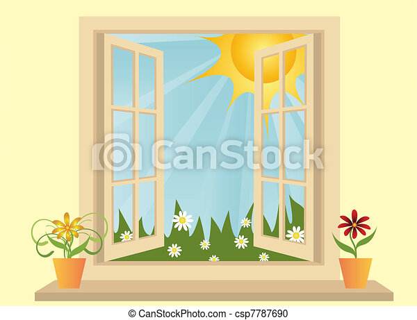 Opened plastic window in room with view to green field  - csp7787690