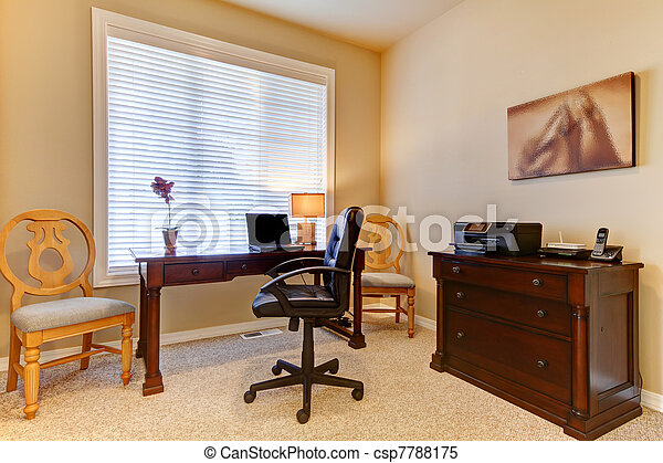 Home office with desk in beige colors - csp7788175