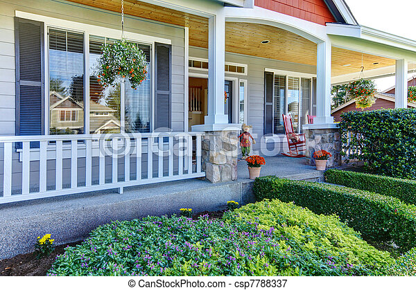 Front porch of the new beautiful grey home - csp7788337