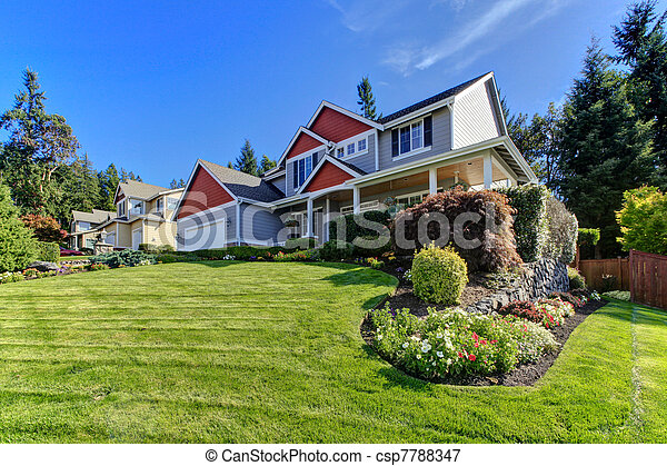 Exterior front of the large home. Northwest. America. - csp7788347