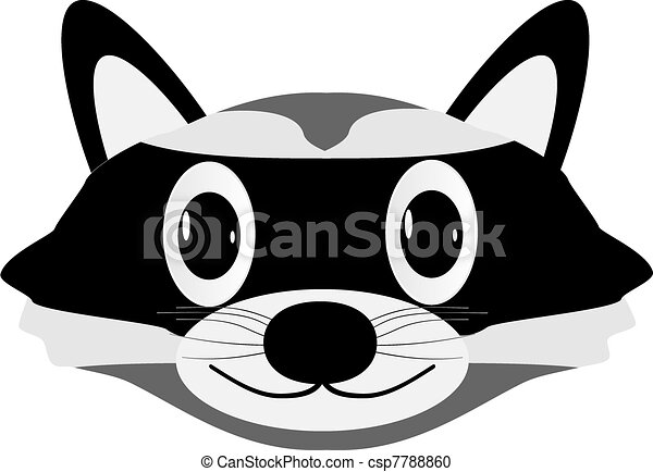 Vector Clipart of Raccoon face isolated on white ... Raccoon Face Clip Art Black And White