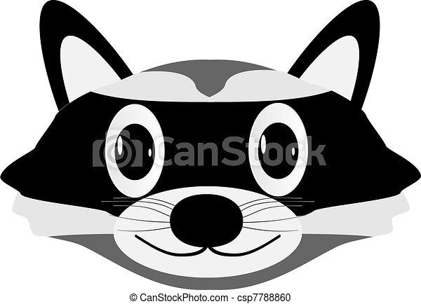 Vector Clipart of Raccoon face isolated on white ... Raccoon Face Clip Art
