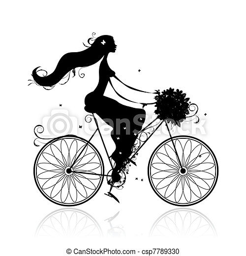 Girl with floral bouquet cycling - csp7789330