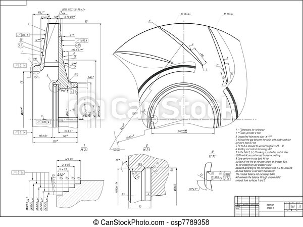Machine-building drawing. Impeller - csp7789358