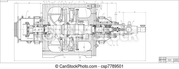 Machine-building drawing. Pump - csp7789501