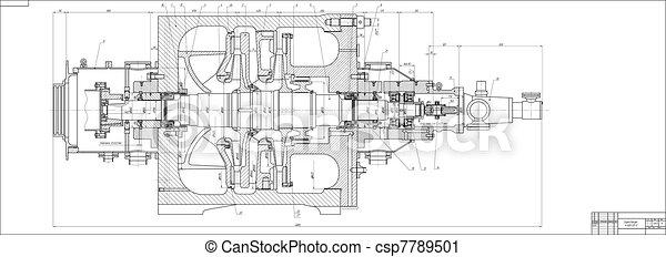 Machine-building drawing. Pump - csp7789501