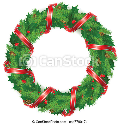 Holly berry wreath with ribbon - csp7790174
