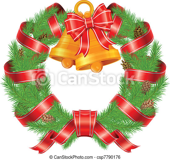 Christmas pine wreath with bells - csp7790176