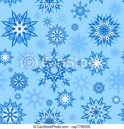 vector illustration of a seamless snowflakes background. Christmas theme.  - csp7790335