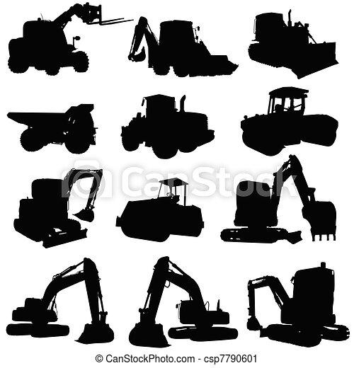 construction vehicle black silhouette - csp7790601