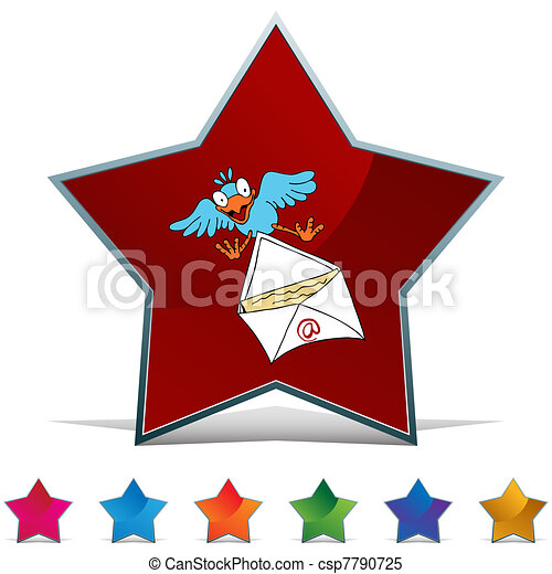 Bird Delivering Email Button Set - csp7790725