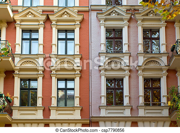 Windows of two townhouses - csp7790856
