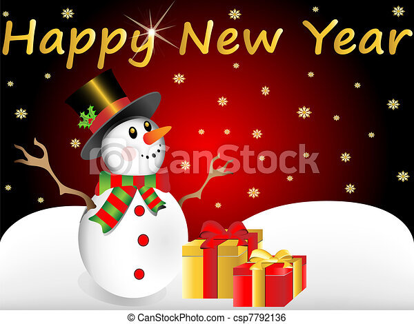 snow man wishes happy new year - csp7792136