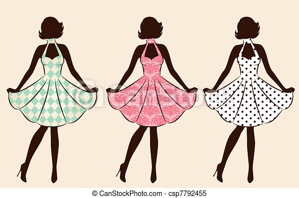 Vintage silhouette of girl . - csp7792455