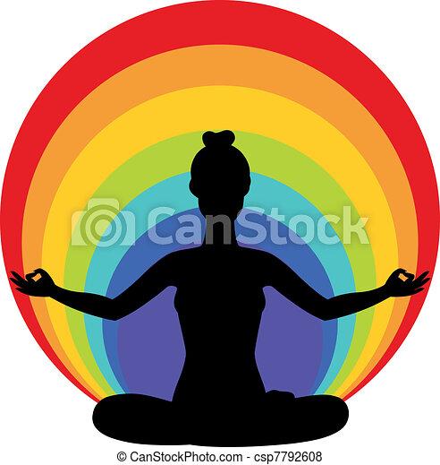 woman sitting in yoga lotus positio - csp7792608