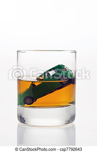 car keys and glass with alcohol - csp7792643