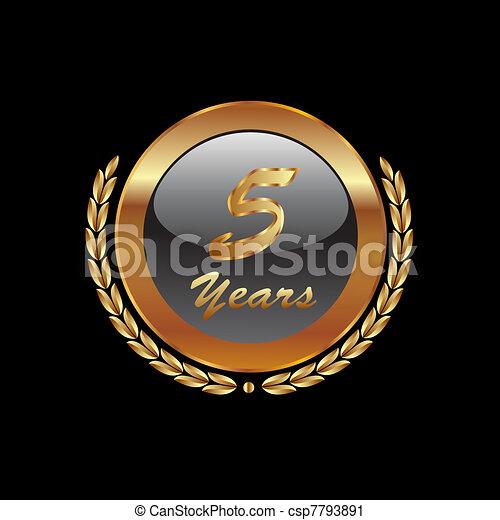 Gold laurel wreath 5th anniversary - csp7793891