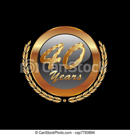 Gold laurel wreath 40th anniversary - csp7793894