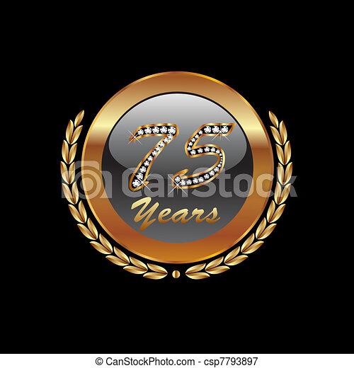 Gold laurel wreath 75th anniversary - csp7793897