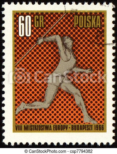 Javelin throwing on post stamp - csp7794382