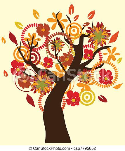 vector illustration of fall tree vector illustration of