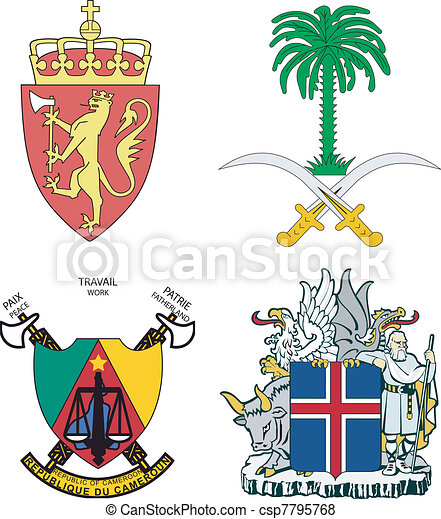 Set of arms of Iceland, Norway, Saudi Arabia, Cameroon - csp7795768