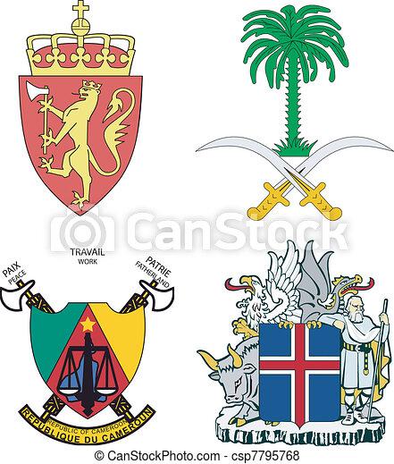 Set of arms of Iceland, Norway, Saudi Arabia, Cameroon - csp7795768