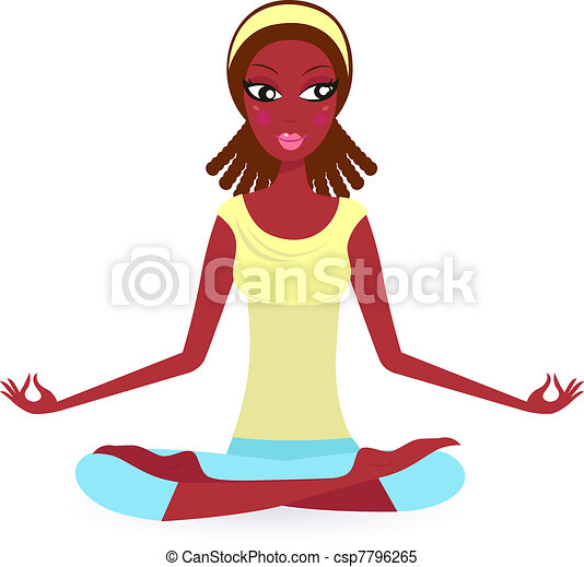 Afro - american Female practicing yoga pose isolated on white   - csp7796265