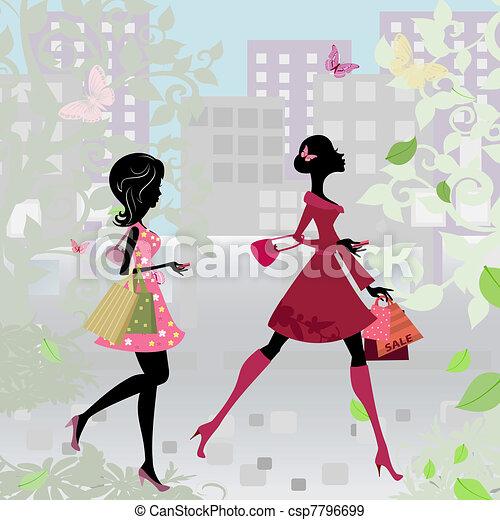 Girls walking around town with shopping - csp7796699