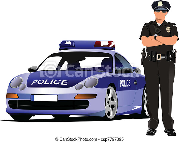 Police woman standing near police  - csp7797395