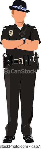 Police woman looking forward  isol - csp7797401