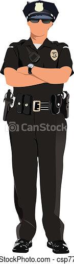 Police woman looking forward  isol - csp7797405
