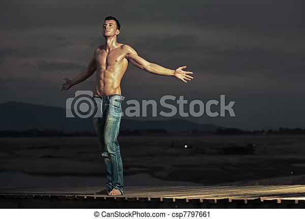 Attractive guy posing - csp7797661