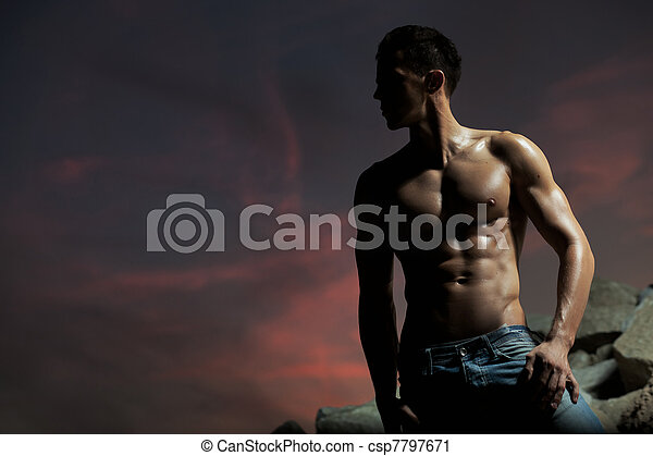 Good looking bodybuilder posing - csp7797671