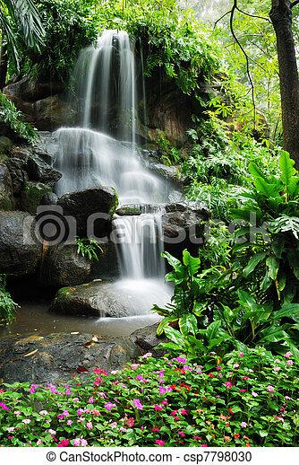 hermoso, cascada, jardín - csp7798030
